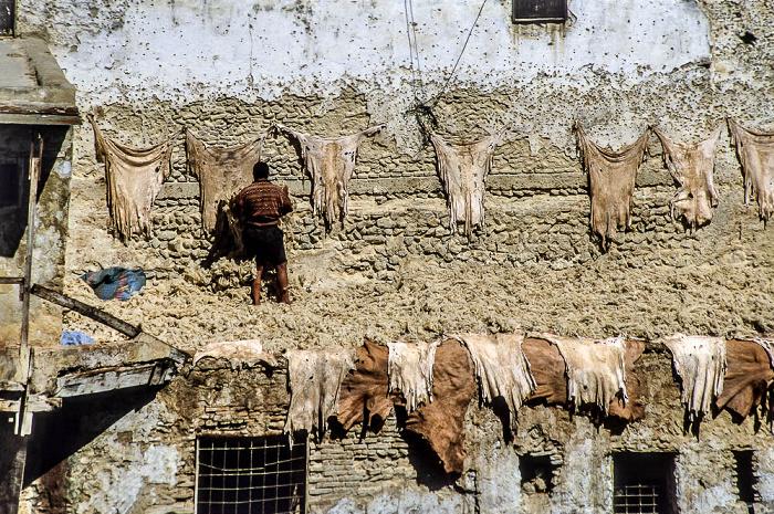 Fès Gerbereien: Zum Trocknen im Freien aufgehängte gegerbte Häute