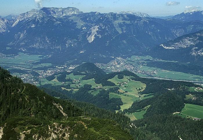 Gratlspitz Rofangebirge, davor Inntal mit links Brixlegg und rechts Kramsach