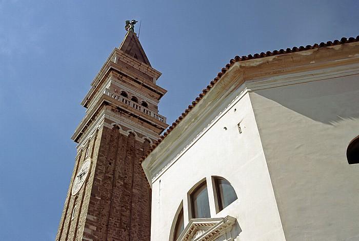 Piran Glockenturm der Georgskirche und Baptisterium