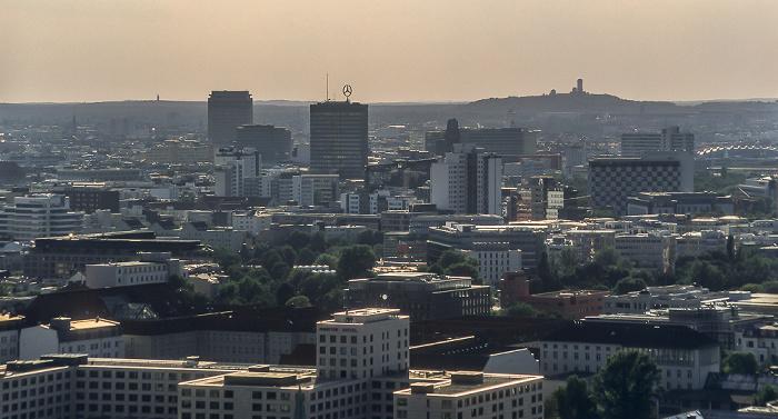 Blick vom Gebäude Potsdamer Platz 1: Stadtzentrum West mit Europa-Center und Kaiser-Wilhelm-Gedächtniskirche Berlin 2005