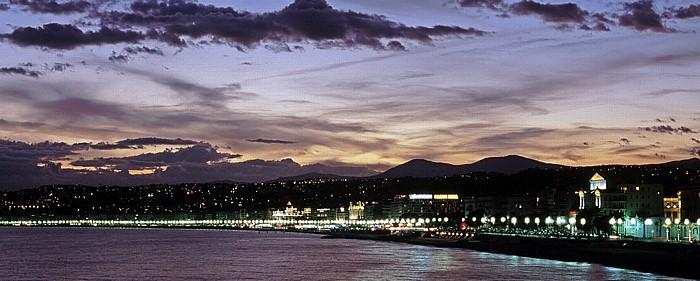 Nizza Blick vom Pointe des Ponchettes: Promenade des Anglais und Quai des Etats Unis