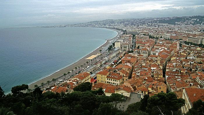 Nizza Blick von der Terrasse Frédéric Nietzsche: Mittelmeer und Stadtzentrum