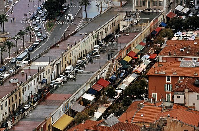Nizza Blick von der Terrasse Frédéric Nietzsche: Antiquitätenmarkt und Blumenmarkt
