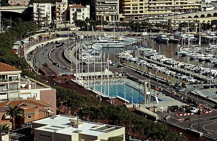 Monaco Blick vom Schlosshügel: Quai Albert 1er und Stade Nautique Rainier III