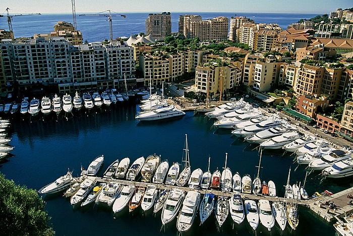 Monaco Blick vom Schlosshügel: Port de Fontvieille und Fontvieille