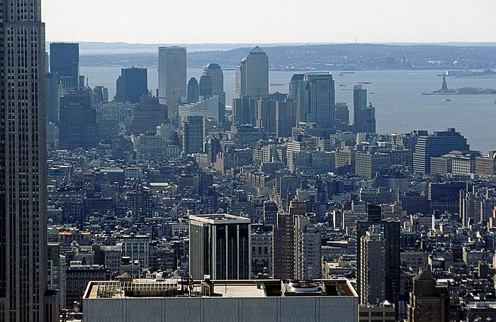 New York City Blick vom Rockefeller Center Top Of The Rock Empire State Building Freiheitsstatue Greenwich Village Liberty Island Manhattan Staten Island Upper Bay