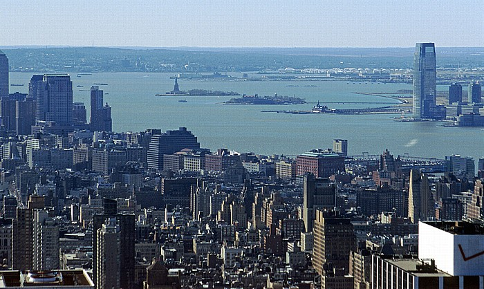 New York City Blick vom Rockefeller Center Top Of The Rock Ellis Island Freiheitsstatue Greenwich Village Hudson River Liberty Island Manhattan Staten Island Upper Bay