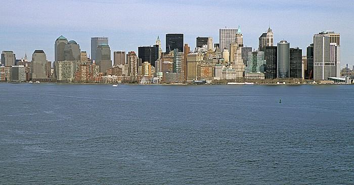 New York Blick vom Sockel der Freiheitsstatue: Upper Bay und Manhattan