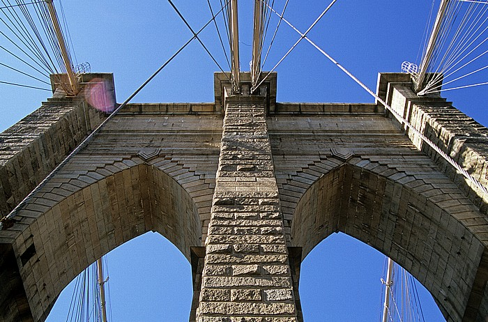 Brooklyn Bridge: Westlicher Pylon New York City