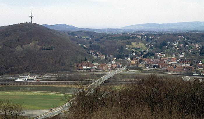 Porta Westfalica Blick vom Kaiser-Wilhelm-Denkmal in Richtung Osten