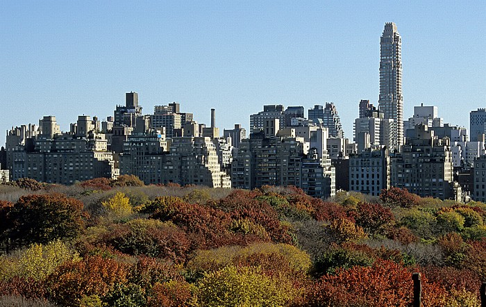 New York City Blick aus dem West Side YMCA: Central Park, dahinter Upper East Side