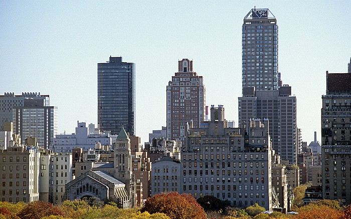 New York Blick aus dem West Side YMCA: Central Park, dahinter Upper East Side Temple Emanu-El