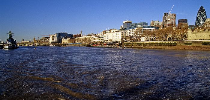 London Themse 30 St Mary Axe HMS Belfast London Bridge Monument Tower Millennium Pier