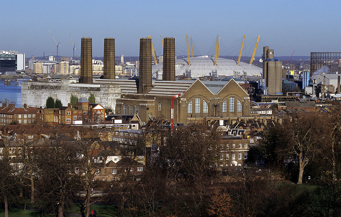 London Blick vom Old Royal Observatory: Millennium Dome (The O2) Royal Greenwich Observatory