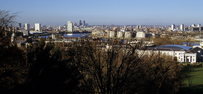 London Blick vom Old Royal Observatory in Richtung Stadtzentrum 30 St Mary Axe Royal Greenwich Observatory Tower 42