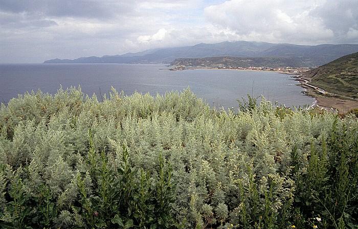 Bosa Marina Mittelmeerküste und Mündung des Temo