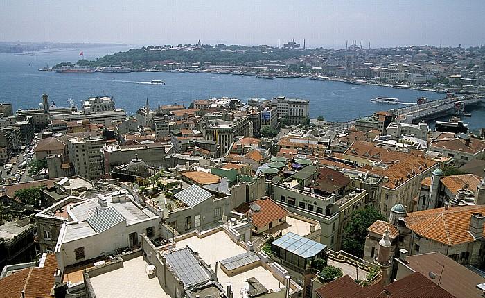 Istanbul Blick vom Galata-Turm: Bosporus, Goldenes Horn Blaue Moschee Galata-Brücke Hagia Sophia Sultanahmet Topkapi-Palast