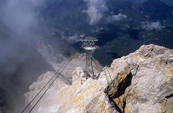 Zugspitze (A) Blick vom Gipfel: Tiroler Zugspitzbahn