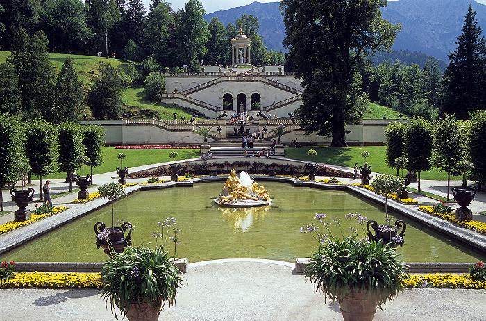 Linderhof Schlossgarten: Wasserparterre, Terassengärten