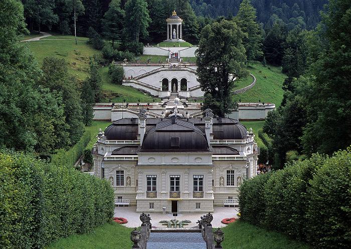 Linderhof Schlosspark (Kaskade), Schloss, Schlossgarten (Terassengärten, Venustempel)