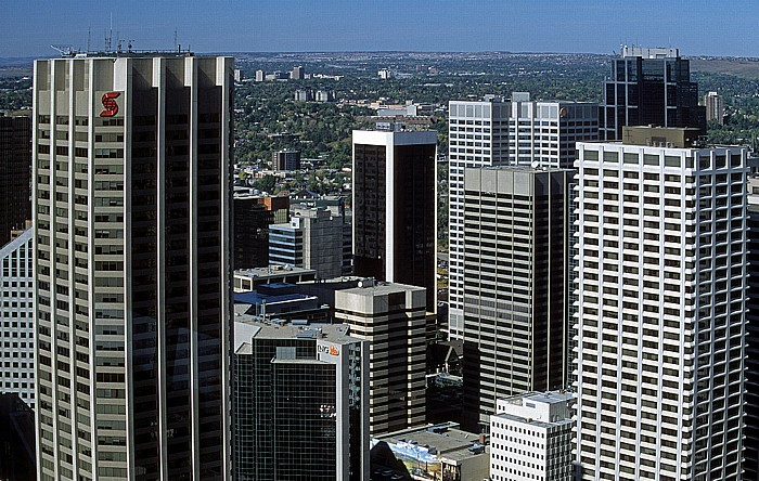 Blick aus dem Calgary Tower: Downtown Altius Centre Bow Valley Square Canterra Tower Mobil Tower Scotia Centre Shell Centre