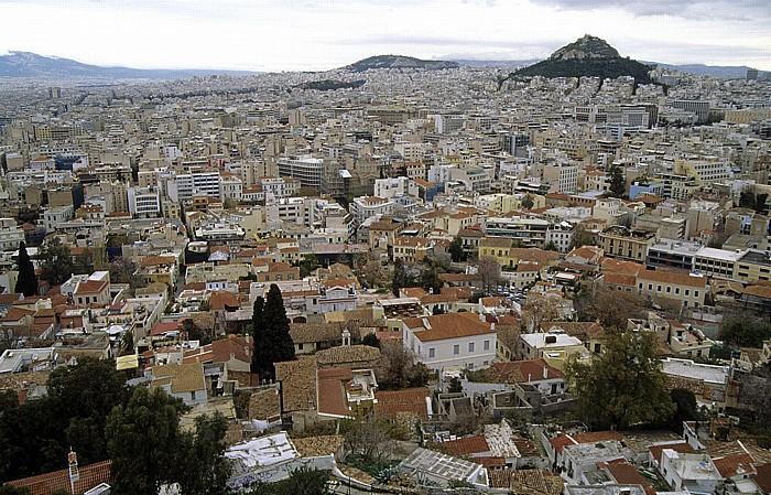 Athen Blick von der Akropolis Lykavittos