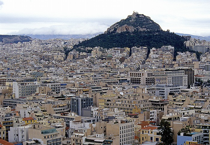 Athen Blick von der Akropolis: Lykavittos Lykabettus