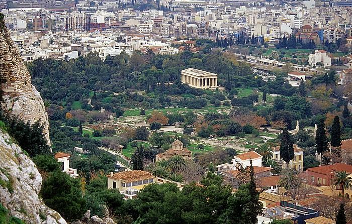 Athen Blick von der Akropolis: Agora Apostelkirche Hephaisteion