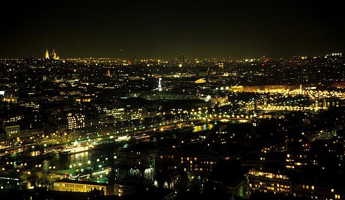 Paris Blick vom Tour Eiffel (Eiffelturm) nach Nordosten Basilique du Sacré-Coeur Grand Palais Place de la Concorde