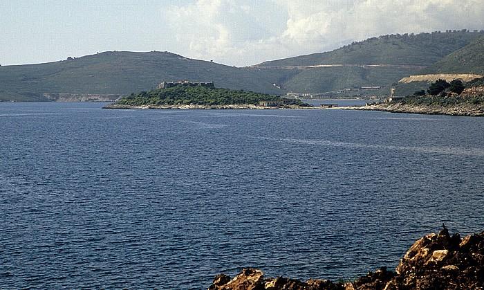 Albanische Riviera Bucht von Porto Palermo (Panormon): Festung von Ali Pasha Tepelene