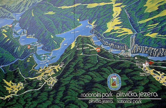 Nationalpark Plitvicer Seen Übersichtsplan