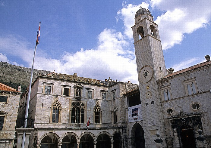Altstadt (Grad): Sponza-Palast (Palača Sponza), Glockenturm (Gradski zvonik) Dubrovnik