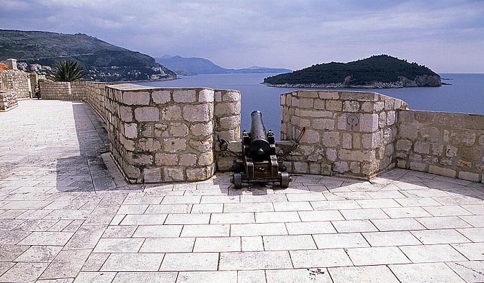 Dubrovnik Altstadt: Stadtmauer, Bastion des Hl. Petrus Lokrum