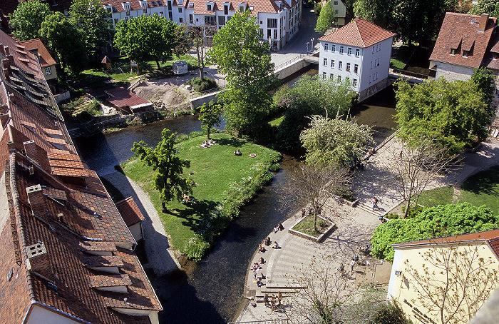 Erfurt Blick von der Ägidienkirche: Krämerbrücke, Gera (Breitstrom)