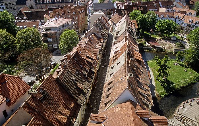Erfurt Blick von der Ägidienkirche: Krämerbrücke Breitstrom