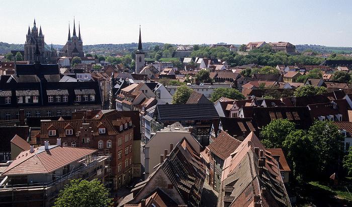 Erfurt Blick von der Ägidienkirche Allerheiligenkirche Dom Severikirche Zitadelle Petersberg