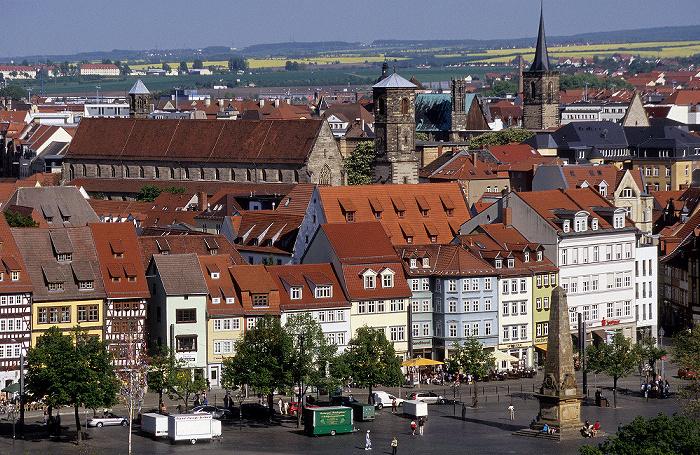 Erfurt Blick von der Zitadelle Petersberg: Predigerkirche, Domplatz mit Obelisk Barfüßerkirche