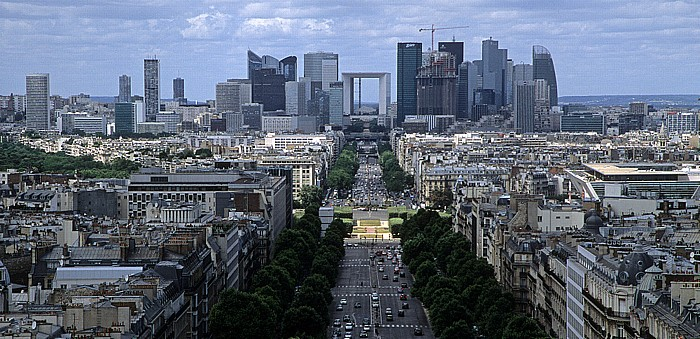 Paris Blick vom Arc de Triomphe Avenue Charles de Gaulles Grande Arche La Défense Neuilly-sur-Seine Place de la Porte Maillot