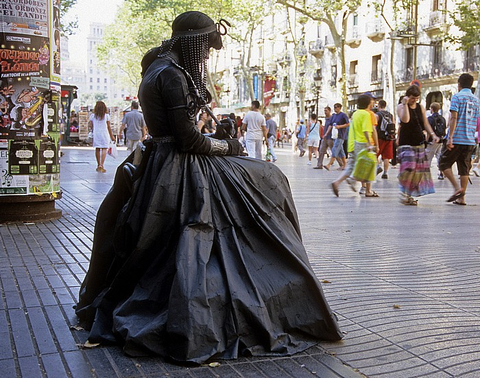 La Rambla (Rambla dels Estudis): Straßenkünstler Barcelona 2008