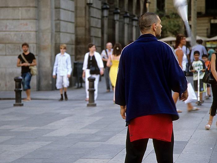 Barri Gòtic: Plaça Reial: Straßenkünstler Barcelona