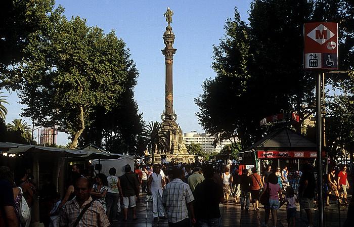 La Rambla (Rambla de Santa Mònica), Plaça del Portal de la Pau mit der Kolumbussäule (Monument a Colom) Barcelona