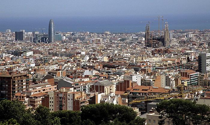 Blick vom Parc Güell: Torre Agbar und Sagrada Familia Barcelona 2008
