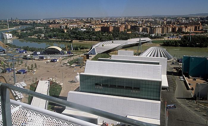 Saragossa EXPO Zaragoza 2008: Blick aus dem Wasserturm (Torre del Agua) Basílica del Pilar Brücken-Pavillon Ebro Eisberg Pasarela del Voluntariado