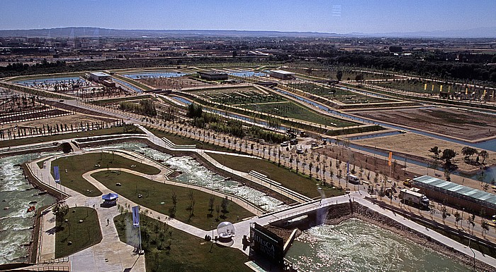 Saragossa EXPO Zaragoza 2008: Blick aus dem Wasserturm (Torre del Agua): Wasserpark (Parque del Agua)