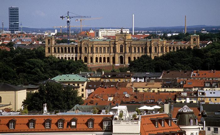 Blick vom Rathausturm (Neues Rathaus): Lehel, Maximilianeum München 2008