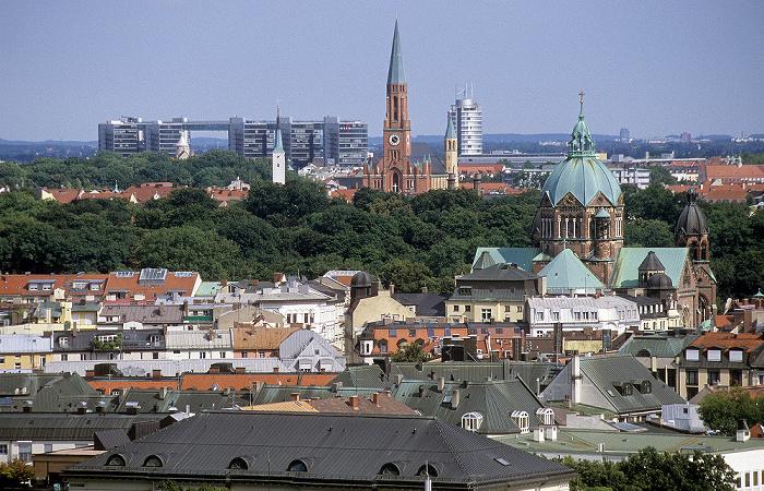 Blick vom Rathausturm (Neues Rathaus): Lehel (unten), Haidhausen München 2008