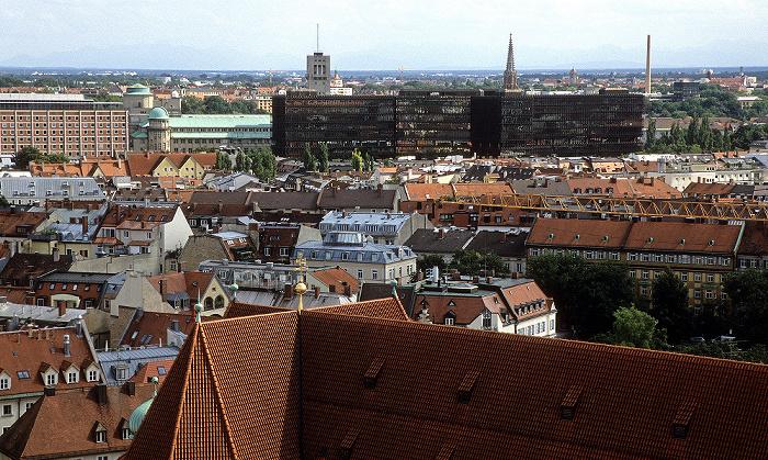 Blick vom Rathausturm (Neues Rathaus): Deutsches Patentamt, Deutsches Museum, Europäisches Patentamt München 2008