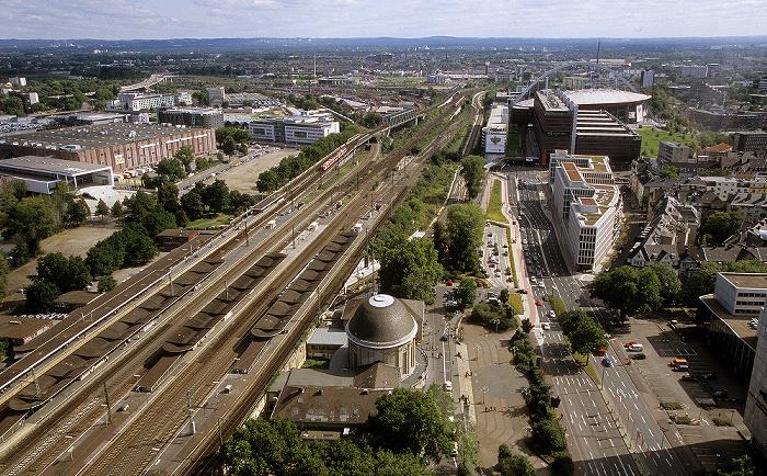 Blick vom KölnTriangle: Bahnhof Köln Messe/Deutz koelnmesse Kölnarena Opladener Straße Ottoplatz Technisches Rathaus