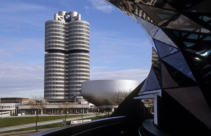V.l. BMW-Hochhaus, BMW-Museum, BMW Welt München