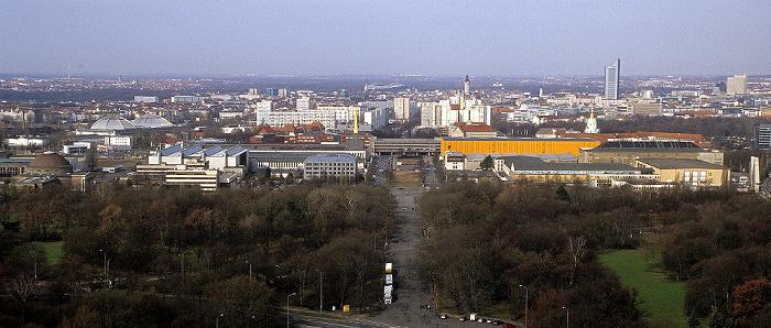 Leipzig Völkerschlachtdenkmal: Blick von der Denkmalskrone Alte Messe City-Hochhaus Kohlrabizirkus